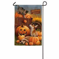 Fall Garden Flag Pumpkins And Pets Evergreen Flag & Garden Pumpkin Garden…