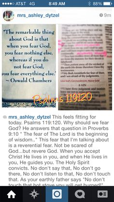 "Fitting for today.Psalms 119:120. Why should we fear God?Proverbs 9:10 "" The fear of The Lord is the beginning of wisdom.."" This fear  is a reverential fear.Not be scared of God...but revere God.When you accept Christ He lives in you, and when He lives in you, He guides you.The Holy Spirit convicts. No don't say that, No don't go there, No don't listen to that, No don't touch that.The psalmist David knew to Fear The Lord...it says he ""trembled"".Respect His authority and Honor His word! Fear…"