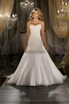 Mermaid Sweetheart Organza Chapel Train Wedding Dress