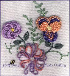 Brazilian Embroidery Sampler Block 3 interesting use of bullion stitch/knot