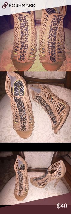 WORN ONCE Jeweled Heels by SAM EDELMAN Gorgeous Sam Edelman jeweled strappy heels in size 10 by Sam Edelman. Worn Once!!!! Cross-Posted! Sam Edelman Shoes Heels