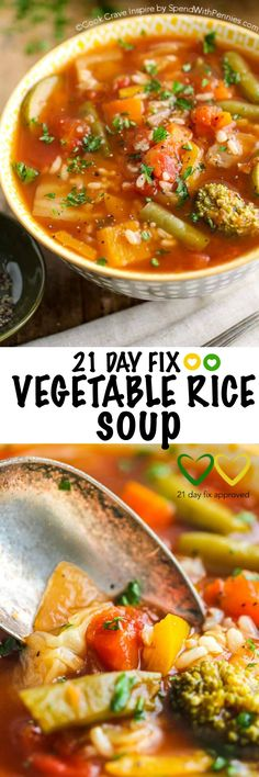 21 Day Fix approved Vegetable Rice Soup! Vegetable Rice Soup is the perfect healthy lunch on any eating plan including the 21 day fix meal plan and weight watchers! This meal is loaded with fresh veggies and flavor.