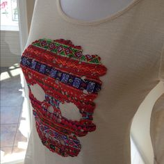 Adorable Skull Top Skull top w/zipper back.  Size Small.  Like new! Xhilaration Tops