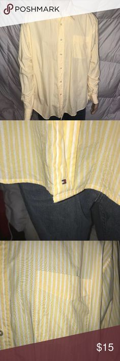 Tommy Hilfiger Golf XXL Long Sleeve Button Down Men's Tommy Hilfiger Golf Long Sleeve Button Down  Size - XXL  Color - Yellow Striped  Excellent Pre-Owned Condition  Smoke Free Home Tommy Hilfiger Shirts Casual Button Down Shirts