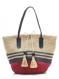 Crew for the Striped straw market tote for Women. Crochet Tote, Crochet Handbags, Crochet Purses, Summer Handbags, Summer Bags, Occasion Bags, Straw Tote, Summer Accessories, Knitted Bags