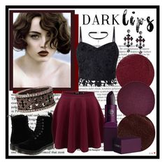"""""""Dark Lips"""" by pixidreams ❤ liked on Polyvore featuring beauty, Balmain, Lipstick Queen, Christian Louboutin, Lipsy, Yves Saint Laurent, KATIE Design, Dr. Martens and darklips"""