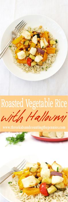 A delicious Roasted Vegetable Rice with Halloumi main. Wine Recipes, Food Network Recipes, Sweets Recipes, Cooking Recipes, Vegetable Recipes, Vegetarian Recipes, Healthy Recipes, Easy Recipes, Healthy Food