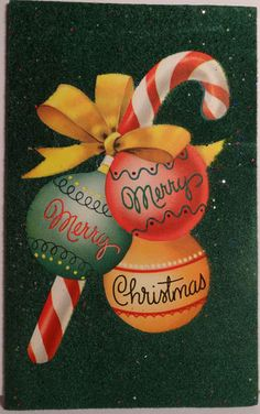 Merry Merry Christmas!  Candy cane greeting card graphic.  clb