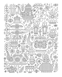 Lizzy Doyle - Tea Pattern #colouring #coloring