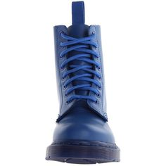 Dr. Martens Pascal 8-Eye Boot (Blue Smooth) Lace-up Boots ($39) ❤ liked on Polyvore featuring shoes, boots, ankle booties, ankle boots, short lace up boots, blue booties, bootie boots, platform boots and lace up platform booties