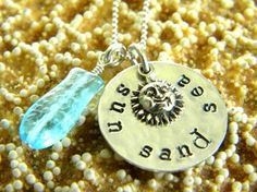 sun sand sea hand stamped necklace with sea glass fish charm