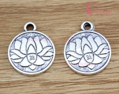 20PCS, Lotus Charm, Hindu, Lotus Pendant, OM Symbol,  Antique Silver Tone, Accessories, Craft Supplies, Jewelry Making Findings, 15mm