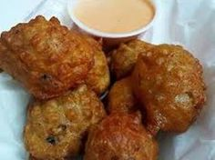 Conch Fritters: Bahamian StyleThese fritters are great as appetizers, finger foods or very tasty hors doeuvres to accompany your favorite rum punch or tropical drink! Conch can be replaced with any seafood. Make this batter . Seafood Dishes, Seafood Recipes, Cooking Recipes, Seafood Appetizers, Seafood Pasta, Cooking 101, Entree Recipes, Gourmet Recipes, Appetizer Recipes