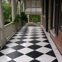 Outdoor/garage ideas: painted concrete floors look spectacular. Use concrete floor paint, prepare your surface & add a design. Paint, Stain or dye. Videos and tutorial here. Painted Porch Floors, Painted Concrete Floors, Porch Flooring, Stained Concrete, Basement Flooring, Painted Wood, Porch Tile, Flooring Ideas, Modern Flooring