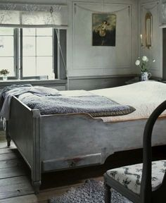 Gustavian Home In Stockholm Farmhouse Bedroom Furniture, Farmhouse Style Bedrooms, Home Bedroom, Gray Bedroom, Calm Bedroom, Tranquil Bedroom, Rustic Furniture, Modern Furniture, Bedroom Ideas