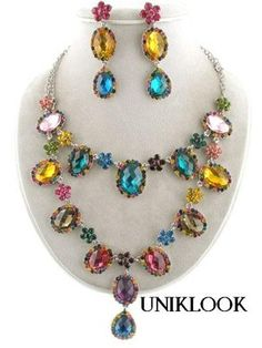 27.65$   WOW! Fashion Collar Multi Color Crystal RUNWAY BIB Jewelry Necklace Earrings Set