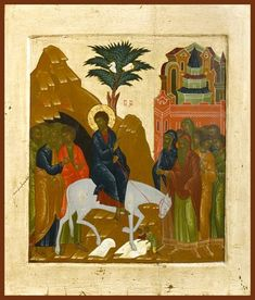 Detailed view: Entry into Jerusalem- exhibited at the Temple Gallery, specialists in Russian icons Paint Icon, Medieval Paintings, Life Of Christ, Russian Icons, Religion, Russian Orthodox, Believe In God, Orthodox Icons, Unique Image