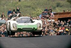 Vic Elford takes flight in a works Porsche 908, 1968 Nürburgring 1000km. He and Jo Siffert would win. Photo: Debraine