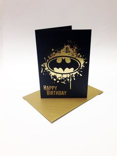 Batman inspired birthday card with the bat by SuperCoolCards