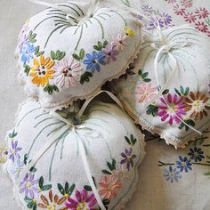 Hanging Lavender Bag Embroidered Vintage, Paradis Terrestre - Luxury British…