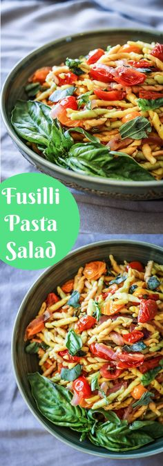 Vegan Fusilli Pasta Salad, a fast and easy weeknight meal that's perfect for lunch leftovers. Fresh basil, tomato, onion and olive oil - so simple!