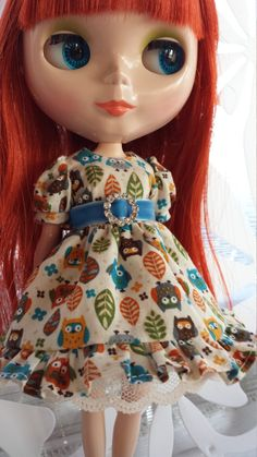 Sweet owl print puff sleeve dress for Neo by dollieslovedresses