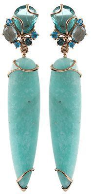 "Federica Rettore Flat Cut Amazonite Earrings Like two enticing icicle drops, these flat cut amazonite earrings by Federica Rettore are alluring. Adorn them on your ears for a frosty accent day or night. Measures 3"" x 1⁄2"" Post Earrings 18K Rose Gold Amazonite (44.42 CTW) Apatite (5.78 CTW) London Blue Topaz (2.13 CTW) Available in Rose Gold  Colors: R GOLD"
