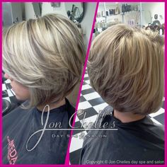Full foil highlights and lowlights. Short, stacked asymmetrical bob by Melissa Garciga.