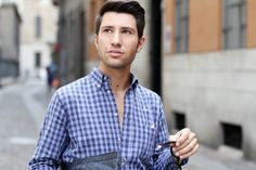 Filippo Fiora wearing a checked shirt