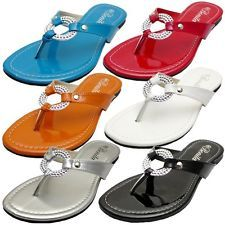 Womens Sandals Summer Cute Silver Jewelry Flip Flops Thong Flat Shoes VENUS-08