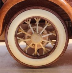 The woodworking plan patterns for the Ford Model A are all full size. They include instructions for the detailed wheels, the base and plaque. Wooden Toy Trucks, Wooden Car, Wood Plane, Handmade Wooden Toys, Pinewood Derby, Wood Toys, Ford Models, Wood Projects, Craft Projects