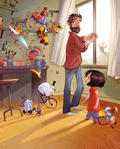 Aurelie Neyret - The colours used by this illustrator are bolder and more cartoon like, and that is what I find appealing in this digital illustration Art Et Illustration, Children's Book Illustration, Character Illustration, Art Mignon, Animation, Graphic, Cute Drawings, Cute Art, Comic Art