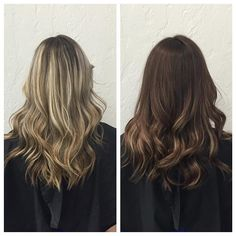 Brunette Balayage : Before and After : Waves : Blonde to Brunette