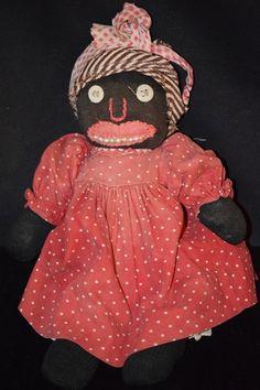 "Old Doll Cloth Black 13"" Rag Doll Stockinette WONDERFUL"