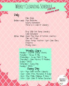 I was actually challenged to write up a Weekly Cleaning Schedule for the working moms after I published, Running a Tight Ship. So here it is!!! It is actually VERY similar to what I had for the SAH...