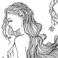 Adult Coloring Page Fantasy Moon and Stars Girl by LineArtsy