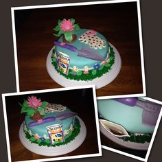 After making this cute little flower garden themed cake I am itching to plant some flowers! The seed packet is open and if you look inside you see tiny little flower seeds!