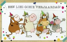 Grappige verjaardagskaart met koeien. Comics, Happy, Paper Board, Ser Feliz, Cartoons, Comic, Comics And Cartoons, Comic Books, Comic Book