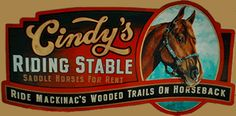 Cindy's Riding Stable on Mackinac Island - logo. I have rented horses here and toured the island the Island on horseback.