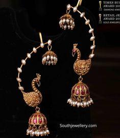 Traditional peacock jhumkas with ear cuffs photo Jewelry Design Earrings, Gold Earrings Designs, Ear Jewelry, Beaded Jewelry, Antique Jewellery Designs, Indian Jewellery Design, Indian Jewelry, Gold Temple Jewellery, Fancy Jewellery