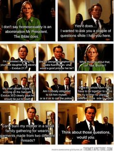 """Best scene from The West Wing…...""""One last thing. While you may be mistaking this for your monthly meeting of the ignorant tight-ass club, in this building when the President stands, nobody sits."""" Most memorable episode."""