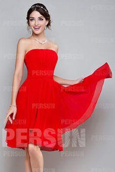 Femme robe de cocktail bustier rouge en mousseline Robe Rouge Pas Cher 7e677a88c8f