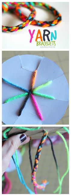 DIY Crafts for Kids   How to make a yarn bracelet with cardboard