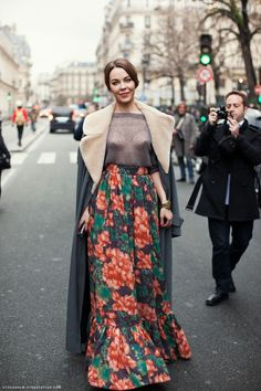 Russian fashion trend - street style, via thebestfashionblog.com--- I don't get into long sweeping gowns/skirts myself, but if I did....