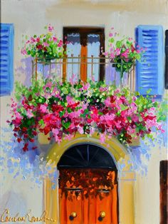 Painting of PROVENCE BALCONY   Beautiful French Impressionistic Oil Painting in Purple and Pink by Cecilia Rosslee French Paintings, Beautiful Paintings, French Artwork, Indian Paintings, Landscape Paintings, Watercolor Paintings, Watercolor Artists, Abstract Paintings, Oil Paintings