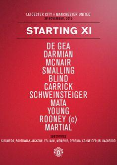 #mufc XI: De Gea, Darmian, McNair, Smalling, Blind, Carrick, Schweinsteiger, Mata, Young, Rooney, Martial