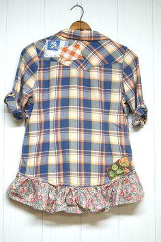 Grunge Flannel Shirt Shabby Boho Chic Gussied by PrimitiveFringe