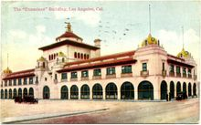 Postcard of the Los Angeles Herald Examiner building. William Randolph Hearst founded the Los Angeles Examiner in 1903, in order to assist his campaign for the presidential nomination on the Democratic ticket and to complement his San Francisco Examiner. The Los Angeles Herald Examiner Mission Revival and Spanish Colonial Revival style building, located at the southwest corner of Broadway and 11th Streets, was largely designed by San Francisco architect Julia Morgan...