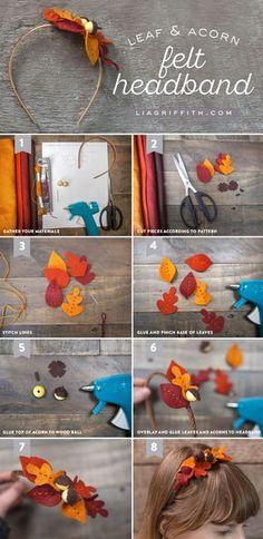 DIY Felt Leaf and Acorn Fall Headband Tutorial from MichaelsMakers Lia Griffith