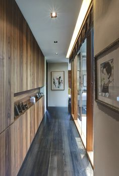 Modern Hallway With Wooden Wall And Floor Laminating